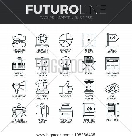 Modern Business Futuro Line Icons Set