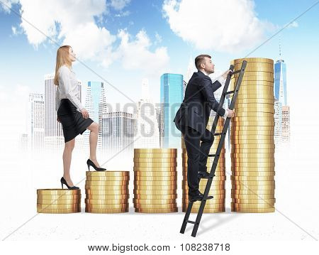 A Woman In Formal Clothes Is Going Up Through A Stairs Which Are Made Of Golden Coins, While A Man H