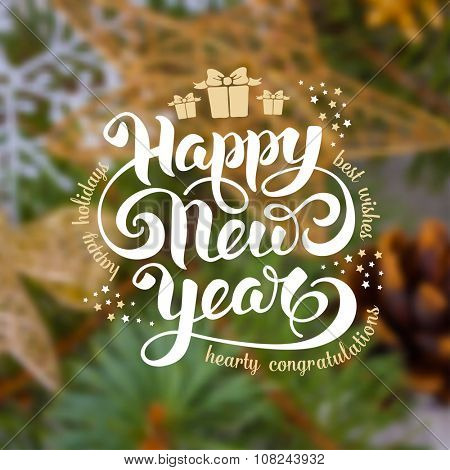 Happy New Year greeting card with holiday still life on background. Blurred effect. Vector illustration.