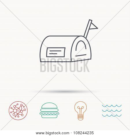 Mailbox with flag icon. Post email box sign. Global connect network, ocean wave and burger icons. Lightbulb lamp symbol. poster