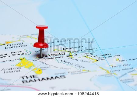 Nassau pinned on a map of America