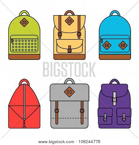 Backpack. Backpack icon. Isolated backpack icons set on background.