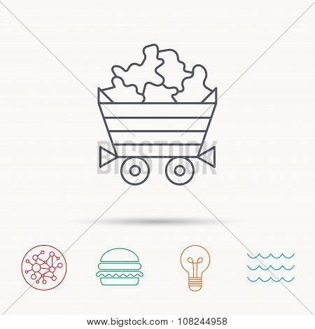 Minerals icon. Wheelbarrow with jewel gemstones sign. Global connect network, ocean wave and burger icons. Lightbulb lamp symbol. poster