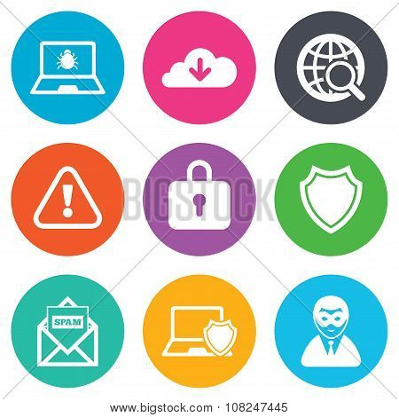 Internet privacy icons. Cyber crime signs. Virus, spam e-mail and anonymous user symbols. Flat circle buttons. Vector poster