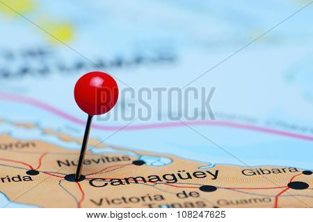 Camaguey pinned on a map of America