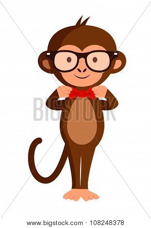 Cute Stylish Monkey In Hipster Glasses, Vector Illustration