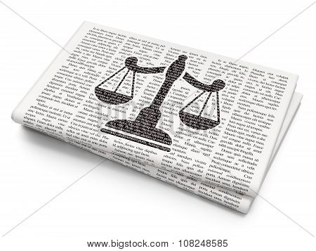 Law concept: Scales on Newspaper background