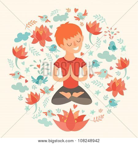 Little boy in the lotus position