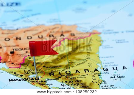 Managua pinned on a map of America