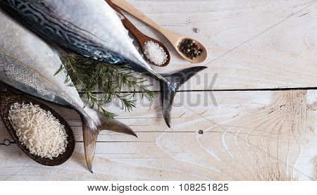 Raw fish, Bonito and Yellowtail, isolated on white with shadow poster