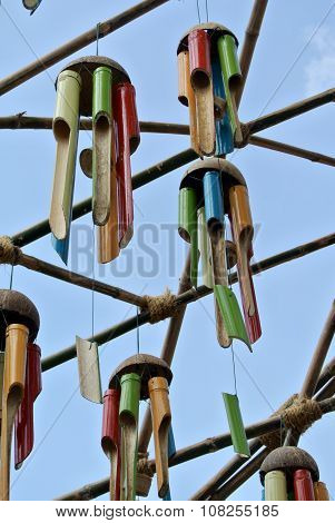 SELANGOR, MALAYSIA -JUNE 06, 2015: Several musical instrument made of bamboo and hung high. This musical instrument will sound when blown by the wind.