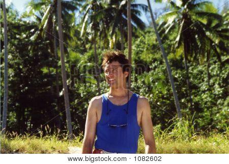 Smiling Man On A Hawaiian Trail