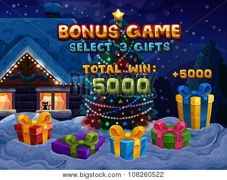 Bonus game for slots game. Vector illustration