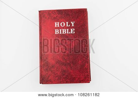 Red Holy Bible Book, Isolated Background