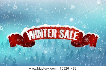 Winter sale background with red realistic ribbon banner and snow
