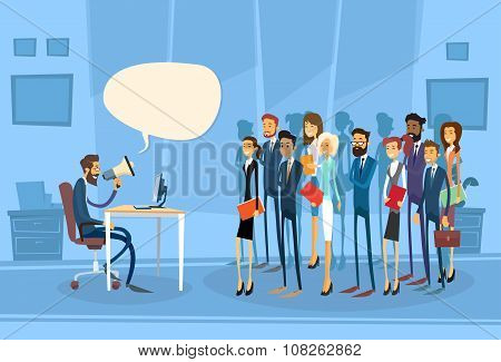 Businessman Boss Hold Megaphone Loudspeaker Colleagues