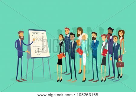 Business People Group Presentation Flip Chart Finance, Businesspeople