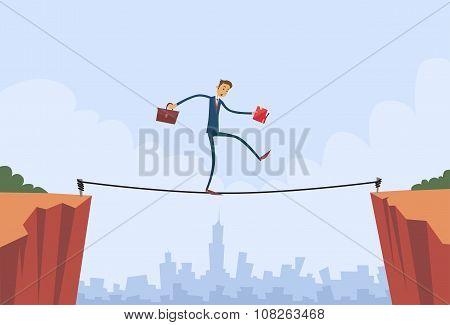 Businessman Walk Over Cliff Gap Mountain Business Man Balancing