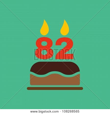 The birthday cake with candles in the form of number 82 icon. Birthday symbol. Flat