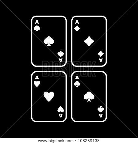 The Ace icon. Playing Card Suit symbol. Flat Vector illustration poster