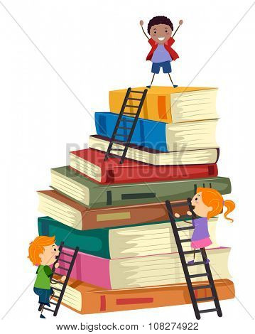 Stickman Illustration of Kids Climbing a Tall Stack of Books