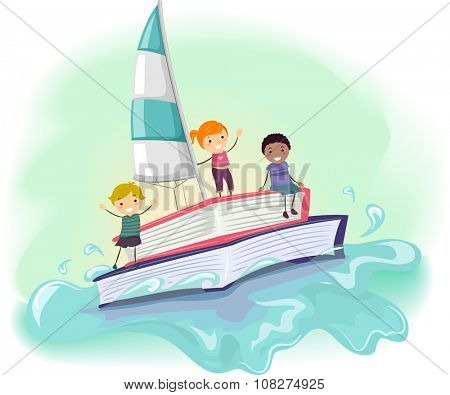 Stickman Illustration of Kids Riding a Boat Made from a Book