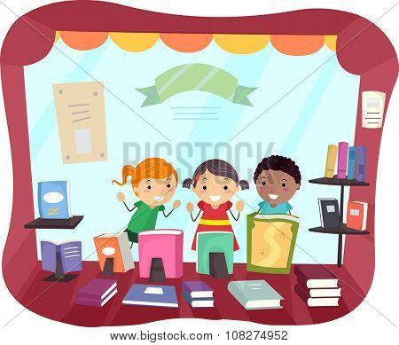 Stickman Illustration of Kids Peeking from the Window of a Bookstore