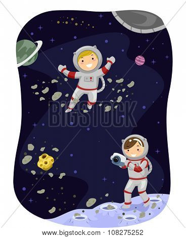 Stickman Illustration of Kids Dressed as Astronauts Taking a Photo in Space