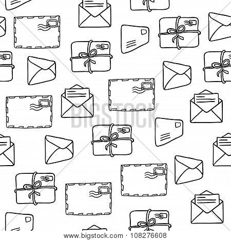 Seamless pattern with envelopes over white background. Vector illustration.