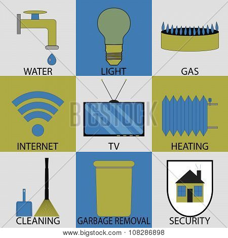 Utilities household services icon set modern