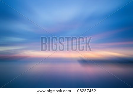 Sunset In The Sea With Radial Blur Background
