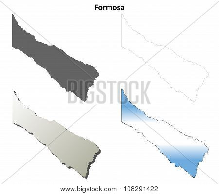 Formosa blank outline map set