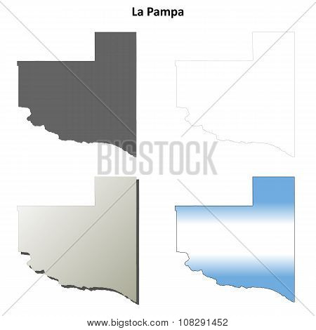 La Pampa blank outline map set