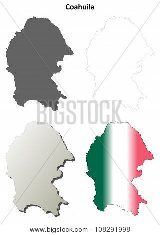 Coahuila blank outline map set