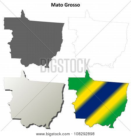 Mato Grosso blank outline map set