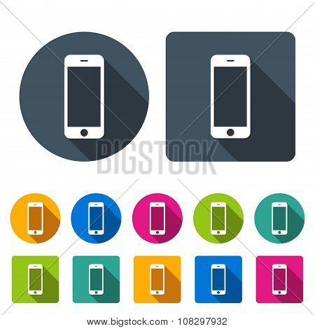 Smartphone Icons Set In The Style Flat Design Different Color On The White Background. Stock Vector