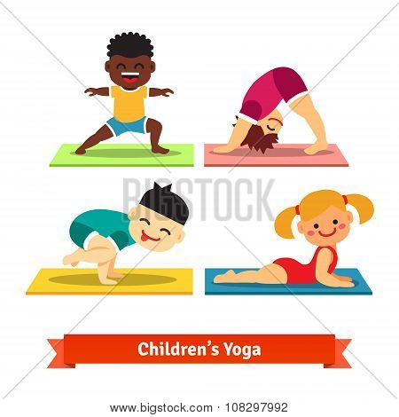 Kids doing yoga poses on colorful mats