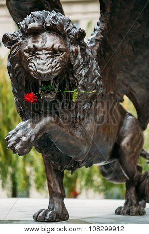 Winged Lion Memorial in Prague Czech Republic.