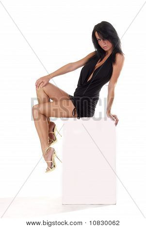 sexy lady sitting on a banner