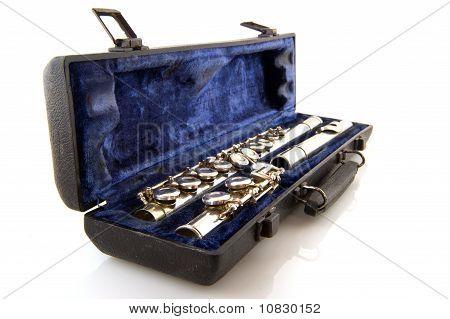 Black case with silver flute in blue velvet poster