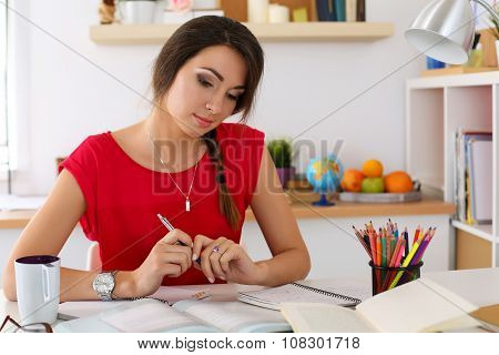 Female Student At Workplace