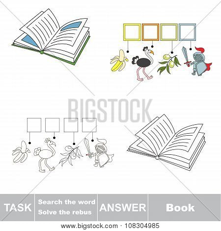 Vector game. Find hidden word Book. Search the word.