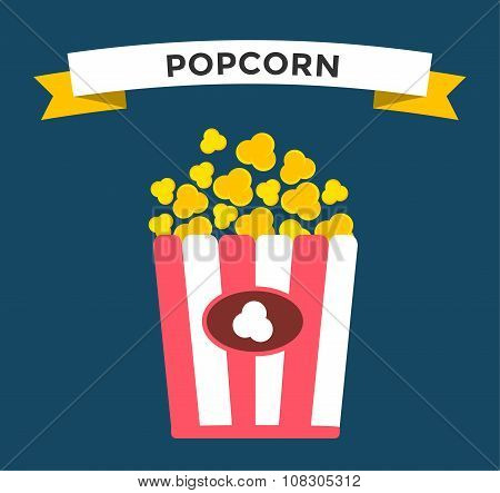 Popcorn box vector icon