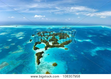 Beautiful view of 70 islands in Palau from above poster