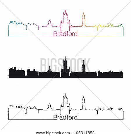 Bradford Skyline Linear Style With Rainbow