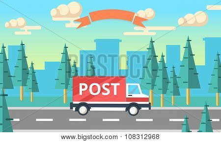 Post Delivery Vector Truck. Delivery Service Van.