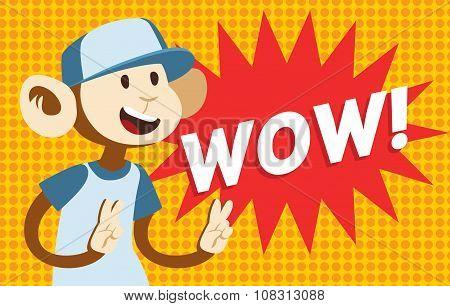 Wow text monkey classic pop art design vector illustration