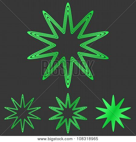 Green line star logo design set