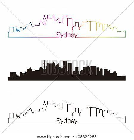 Sydney V2 Skyline Linear Style With Rainbow