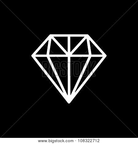The diamond icon. Jewel symbol. Flat Vector illustration poster